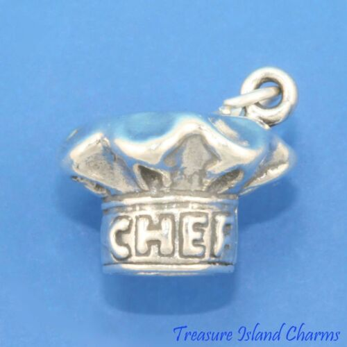 Heavy Chef/'s Hat Toque Cooking Kitchen 3D .925 Sterling Silver Charm Pendant
