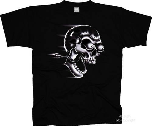 * Gothic Metal Racing Skull Biker T-Shirt Hot Rod Totenkopf *4067