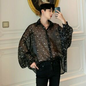 Men Sheer Baggy Shirt Top Star Punk Casual Club Puff Sleeve Retro Fashion Chic