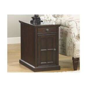 Signature Design By Ashley Power Chair Side End Table Dark Brown