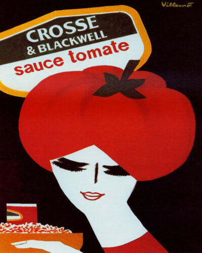 POSTER CROSSE BLACKWELL SAUCE TOMATE WOMAN HAIR FOOD VINTAGE REPRO FREE S//H