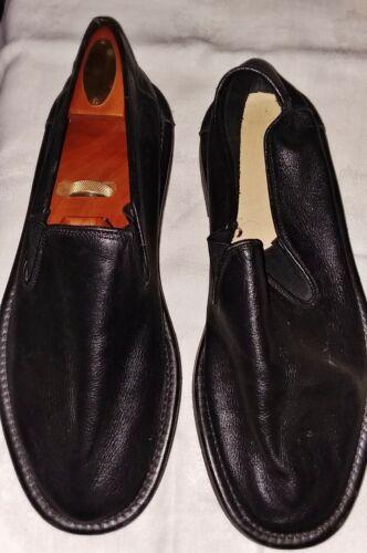 Vintage Japanese Black Leather Slip On Shoes 1980'