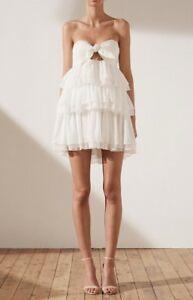 336103f7072a Shona Joy Uccello tie Front Tiered Mini Dress, Ivory, Size 10, BNWT