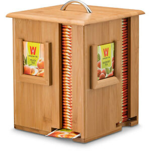 Bamboo-Tea-Box-Storage-Sugar-Bag-Organizer-4-Sections-Wood-Packet-Container