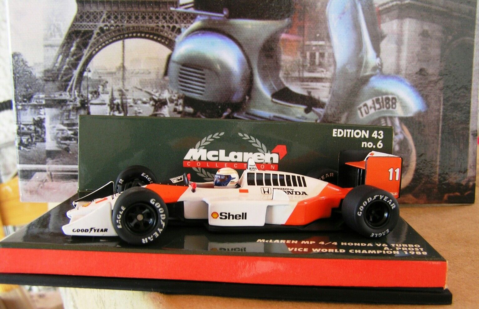 McLaren Honda MP4 4 turbo V6 as driven by Alain Prost in 1988 by Minichamps 1 43