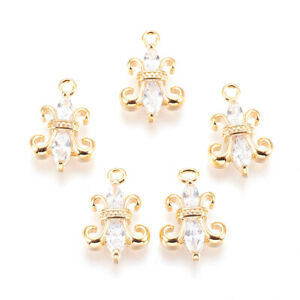 5pcs Colorful Brass Micro Pave Cubic Zirconia Heart Pendants Charms 19.5x18.5mm