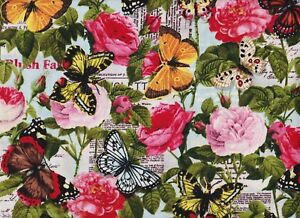 BTY-Vivid-FLOWERS-amp-BUTTERFLIES-Print-100-Cotton-Quilt-Craft-Fabric-by-the-YARD