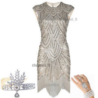 1920's Flapper Dress Gatsby Charleston Sequins Fringe Vintage Party Size UK 2-20