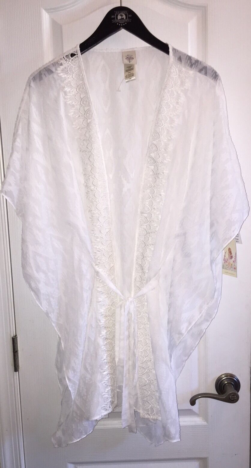 NWT  70 In Bloom by Jonquil Ivory White Floral Sexy Sheer Kimono Robe Women's XL