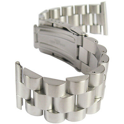 22mm Hadley-Roma MB9036 Brushed Stainless Steel Solid Link Watch Band Bracelet