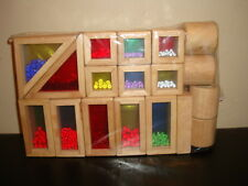 Imaginarium Wood Building Sensory Rainbow Blocks Color Windows with Beads 18pc