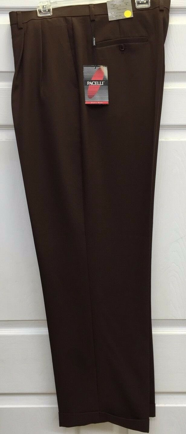 Men's Brown 2 Pleat Cuffed Dress Pants Baggy Fit Pacelli Sizes 29 - 60