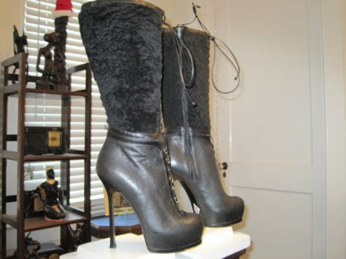 YSL Boots 105 Size 37 MSRP $1000 USA Size 6 Fetish