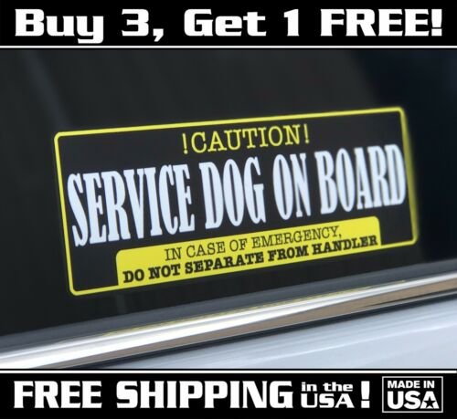 """3/""""x 9/"""" Free Shipping In The US! Service Dog On Board Decal Sticker Caution"""