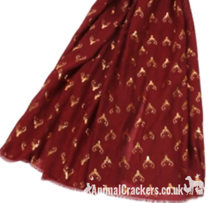 Stag Deer gold foil print ladies Scarf Sarong CHOICE COLOURS stocking filler