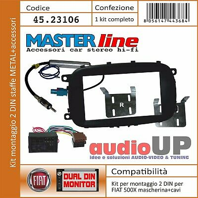 ISO Mascherina supporto autoradio 1 DIN sola FIAT Grande Punto NERO OPACO DG
