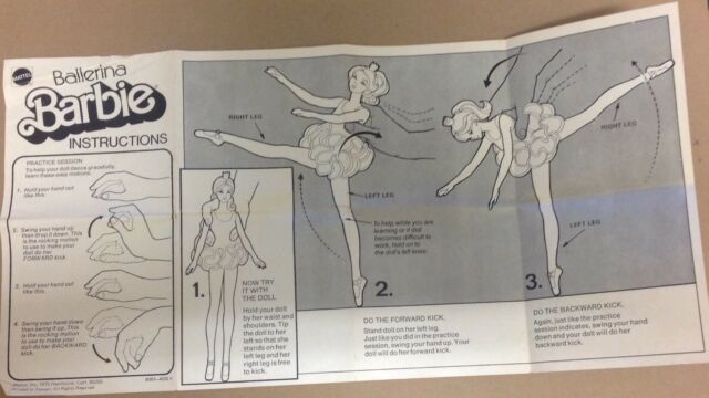 "Mattel 1975 Ballerina Barbie INSTRUCTIONS ONLY 9093 paper for vintage 11.5"" doll"