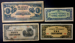 1942 JAPANESE OCCUPATION CURRENCY 4 DIFF BANK NOTES USED IN ASIA DURING WW II