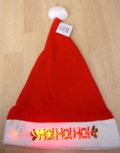 Santa Hat Lights Up Blinking Led Ho Ho Ho Christmas Holiday Cap Free S H New Ebay