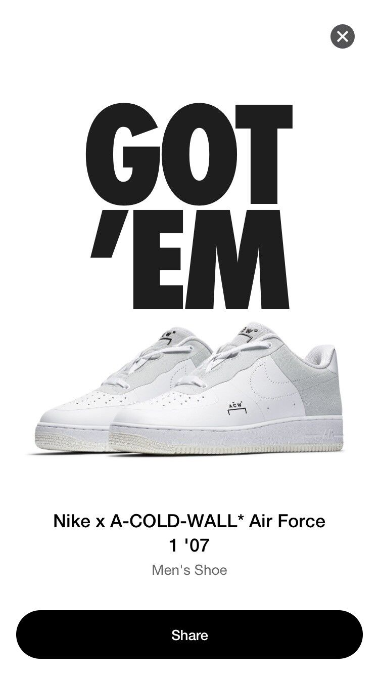 Nike x A-COLD-WALL Air Force 1 Low '07 White Men's Size 13