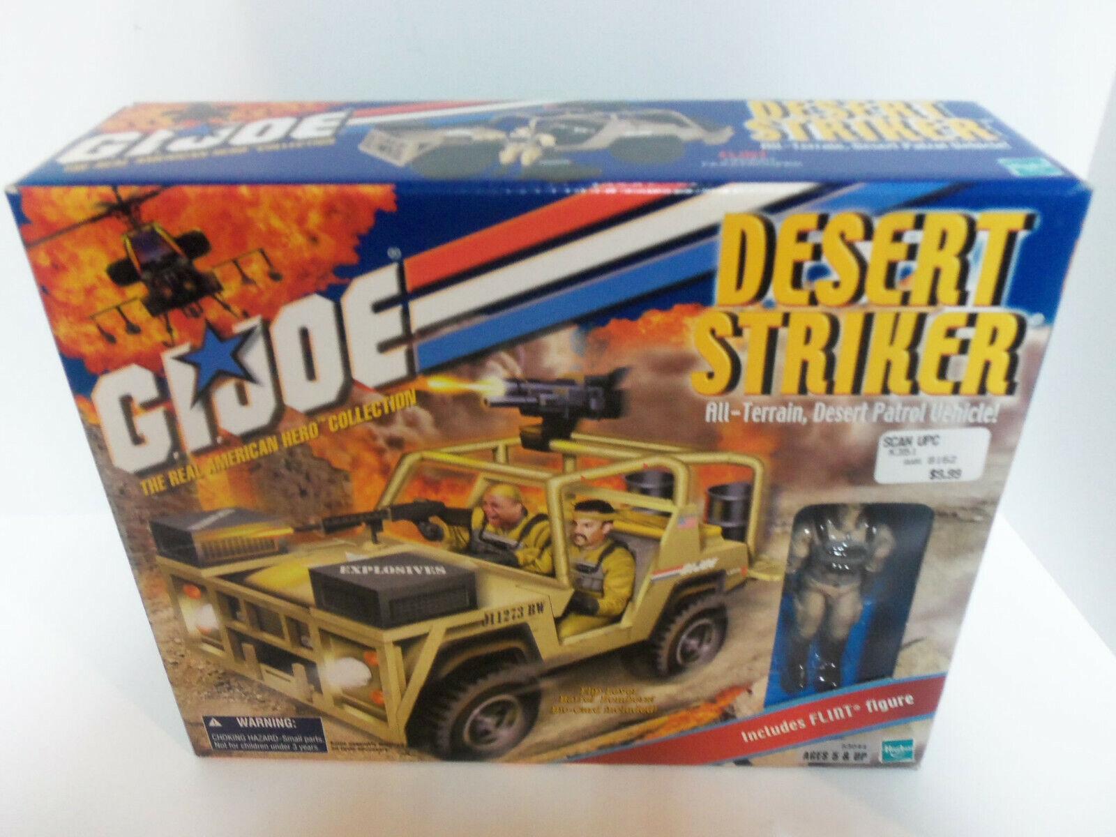 Rara Vintage 2001 Gi Joe Trah desierto Striker Vehículo Con Pedernal Figura MIB Cobra