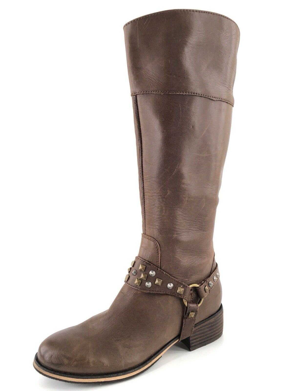 BP Bella Brown Leather Knee High Studded Harness Riding Boots Women's Size 5 M *