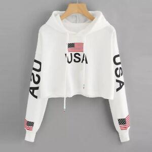 Women-American-Flag-Print-Hoodie-Sweatshirt-Hooded-Crop-Tops-Jumper-Pullover-New