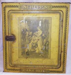 Antique-Schepps-Cake-Box-Tin-Lithograph-Goethe-Lotte-Dorothea-Yellow-Black-As-Is