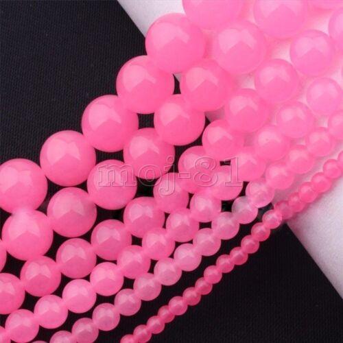 "6//8//10mm  Natural Pink Jadeite Jade Round Gemstone Loose Beads 15/"" AAA"