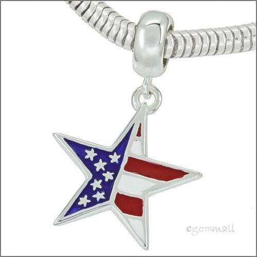 1x Sterling Silver US American Flag Enamel Star European Charm #94184