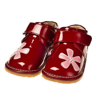 Boys Infant Toddler - Leather Squeaky Shoes - Maroon Red