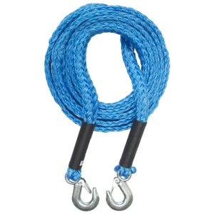 4 Metre Tow Rope Polypropylene Steel Hooks Max 2000kg Load