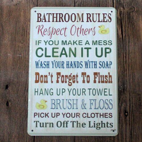 Metal Tin Sign bathroom rules Bar Pub Home Vintage Retro Poster Cafe ART