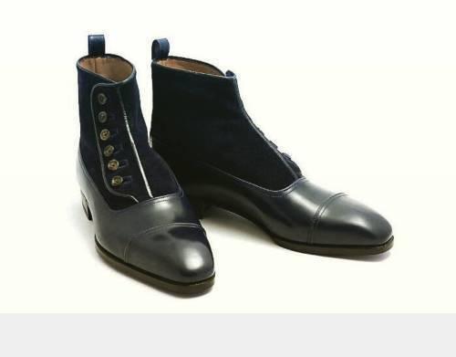 Hecho a Mano Cuero botas al tobillo para Hombre Pantalones Alto Gamuza Cuero Real Chelsea Zapatos
