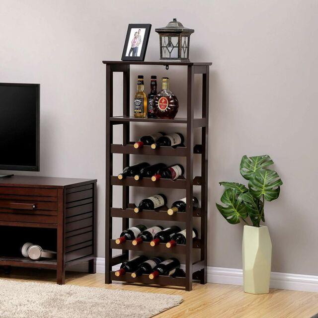 Floor Standing Wine Rack Modern Wood Bottle Cabinet Holder Storage Kitchen  Stand