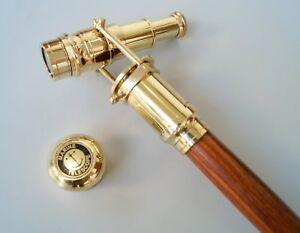 Vintage-massivem-Messing-Teleskop-Griff-aus-Holz-Spazierstock-Cane-36-034-antike-Ge