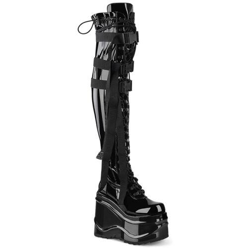 Details about  /Demonia WAVE-315 Women/'s Wedge Platform Stretch Thigh High Boot