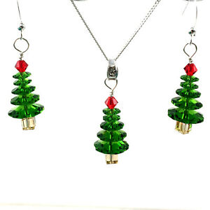 Christmas-Tree-Earrings-amp-Necklace-Swarovski-Crystal-Sterling-Silver-24K-Gold-PL