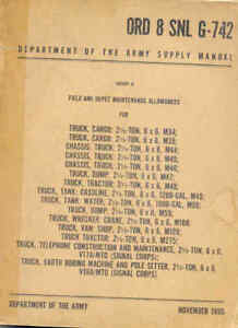 Details about Parts List 2 1/2 ton 6x6 truck M34, M35, M44, M45, M46 1955  book US Army WW2