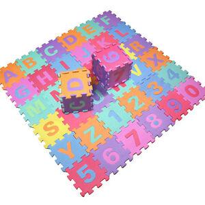 36pcs Soft EVA Foam Baby Children Kids Play Mat Alphabet Number Puzzle Jigsaw DT