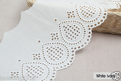 "2y Embroidery scalloped cotton eyelet lace White-Ivory 5.7"" (14cm) sh5 laceking"