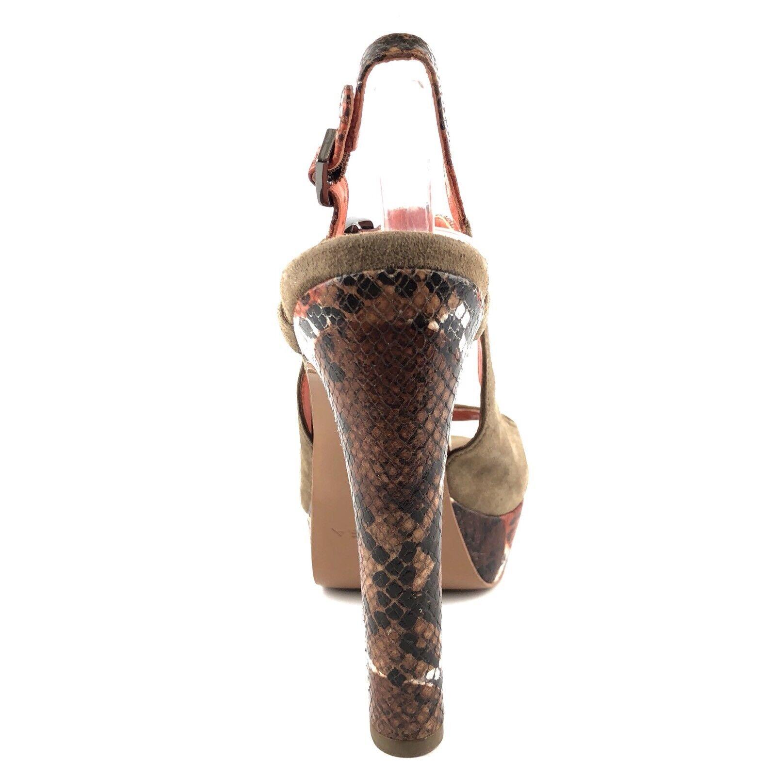 Via Via Via Spiga Braun Suede Ankle Strap Reptile Print Sandales Damenschuhe Größe 8 M f8ceca