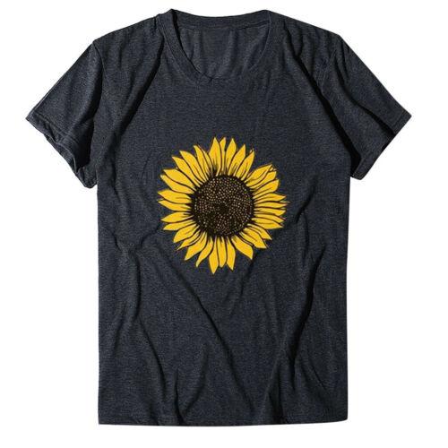 Women Sunflower Print Crew Neck Short Sleeve T-shirt Blouse Tops Plus Size Tees