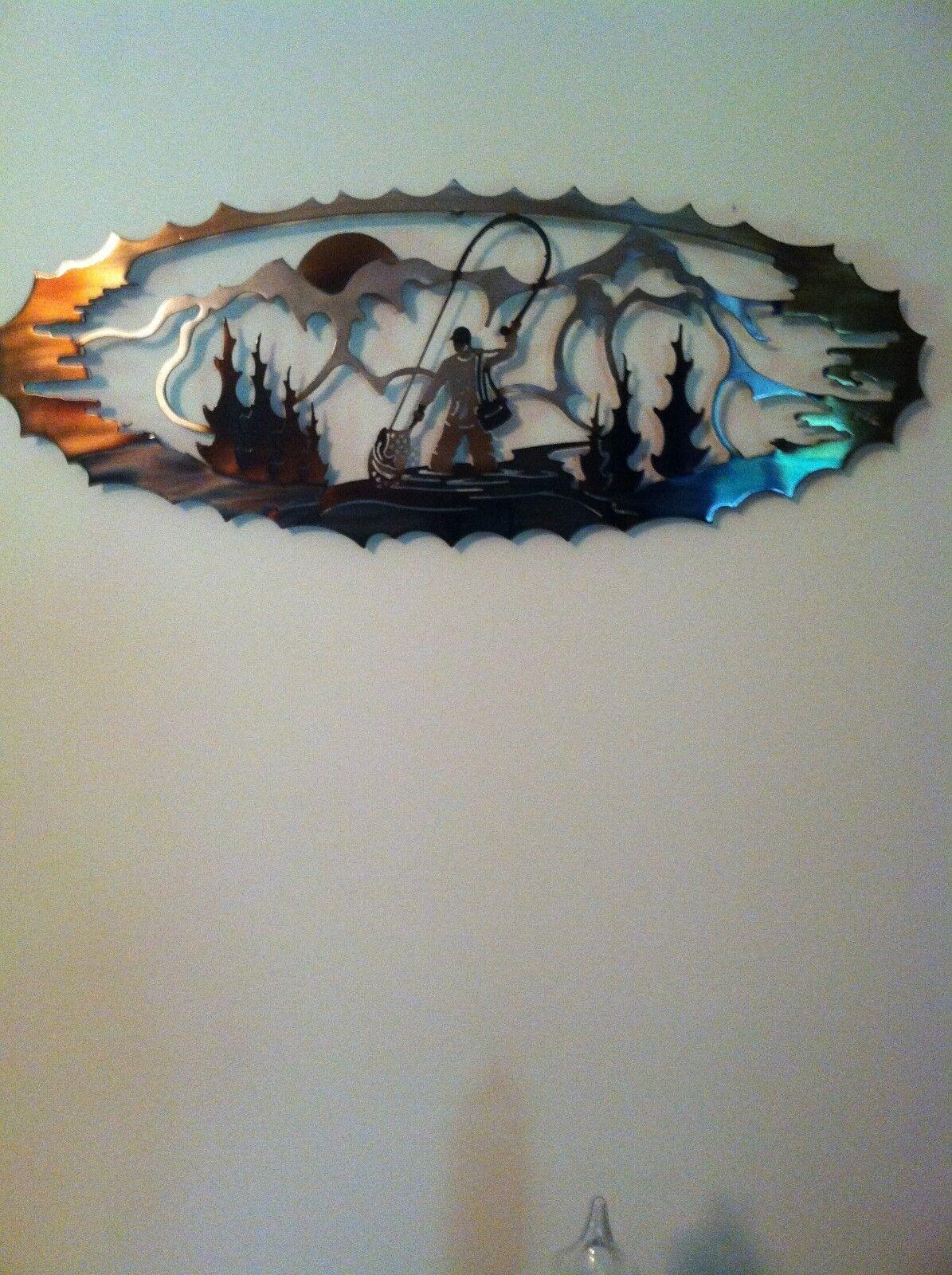 Volar Pescador De Metal Hermosa  Obra De Arte  disfrutando de sus compras