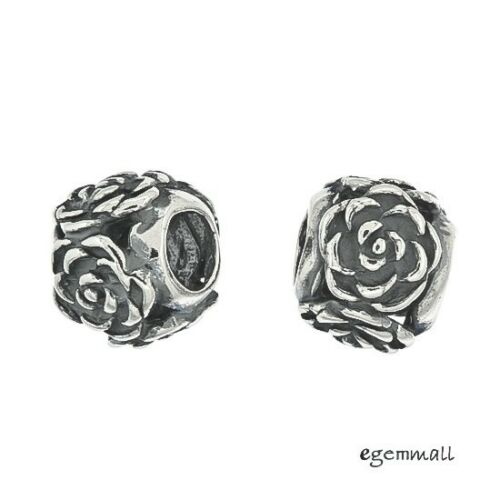 1PC Antique Sterling Silver Rose Flower European Charm Bead #97532