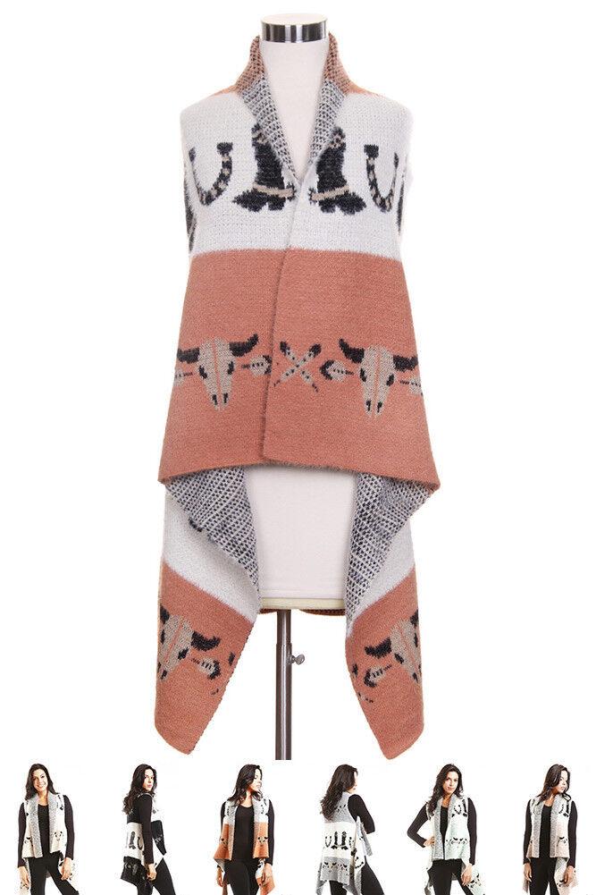 ScarvesMe Women's Western Buffalo Print Fuzzy Basic Soft color Cape Shawl Vest