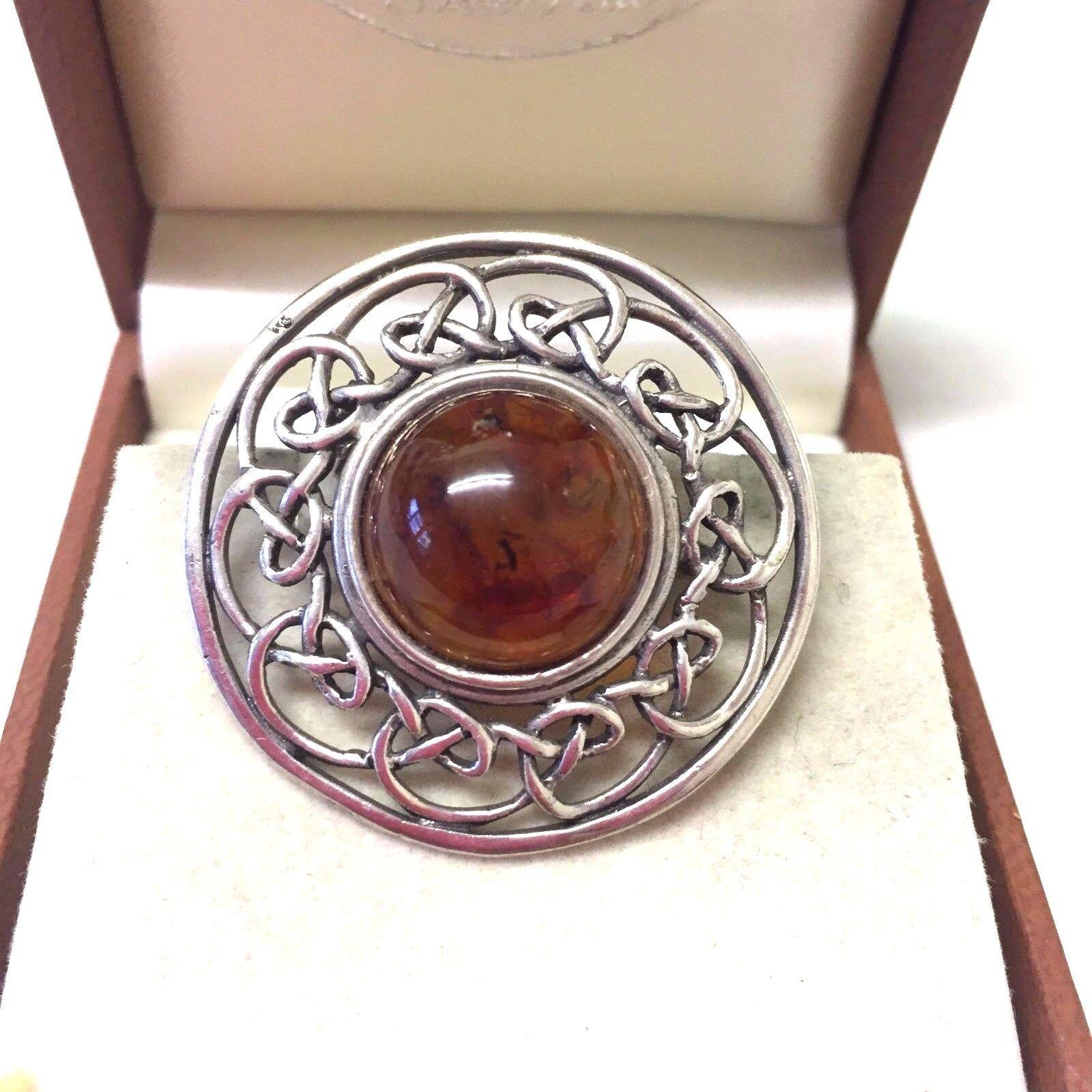 VINTAGE gioielli Adorabili argentoo argentoo argentoo Sterling Amber Stone Spilla Pin e51f30