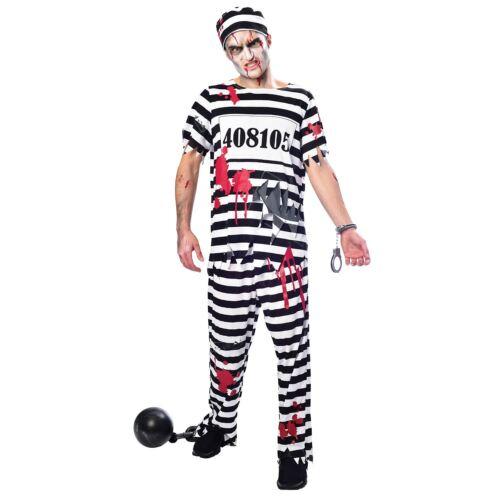 Da Uomo Zombie Galeotto Costume Adulti Prigioniero Halloween Abito Vestito Horror