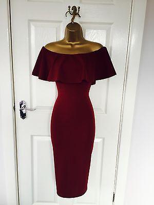 Red Wine Evening Pencil Bardot Bodycon Party Midi Dress BNWT £65 8 10 12 14 16