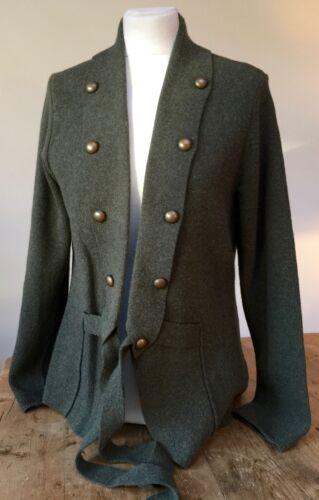 Preloved sweater L Green Olive Una' Cardigan jacket Knit Jumper 'per rqp8OWwr
